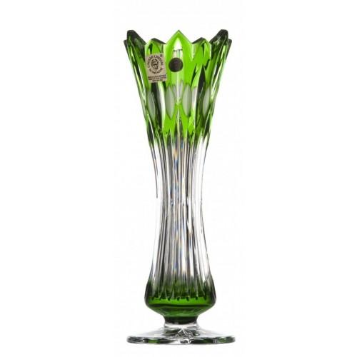 Flame I kristályváza, zöld színű, magassága 205 mm