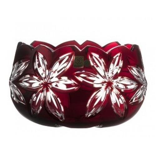 Linda kristálytál, rubinvörös színű, átmérője 205 mm