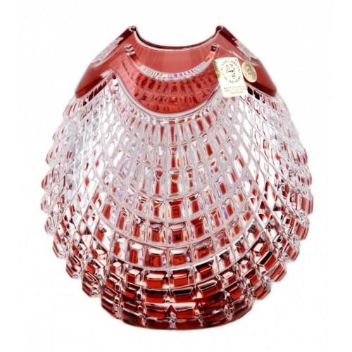 Quadrus kristályváza, rubinvörös színű, magassága 135 mm