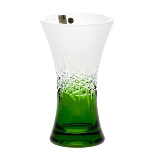 Hoarfrost kristályváza, zöld színű, magassága 205 mm