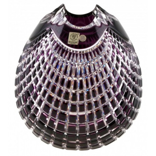 Quadrus kristályváza, lila színű, magassága 135 mm