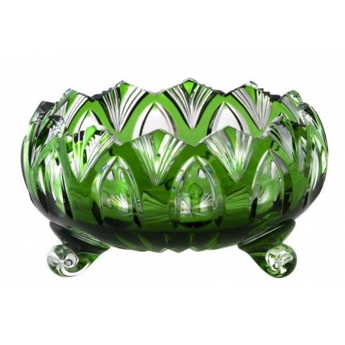 Lótusz kristálytál, zöld színű, átmérője 155 mm