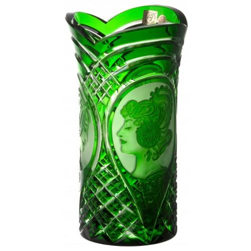 Mucha kristályváza, zöld színű, magassága 210 mm