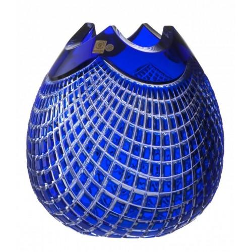 Quadrus kristályváza, kék színű, magassága 250 mm