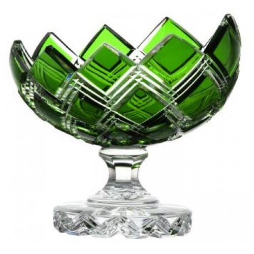 Harlequin kristály dísztál, zöld színű, átmérője 200 mm