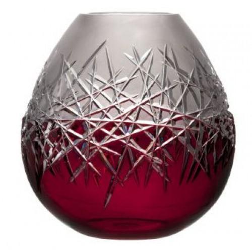 Hoarfrost kristályváza, rubinvörös színű, magassága 280 mm