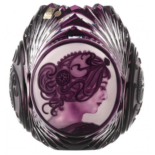 Mucha kristályváza, lila színű, magassága 210 mm