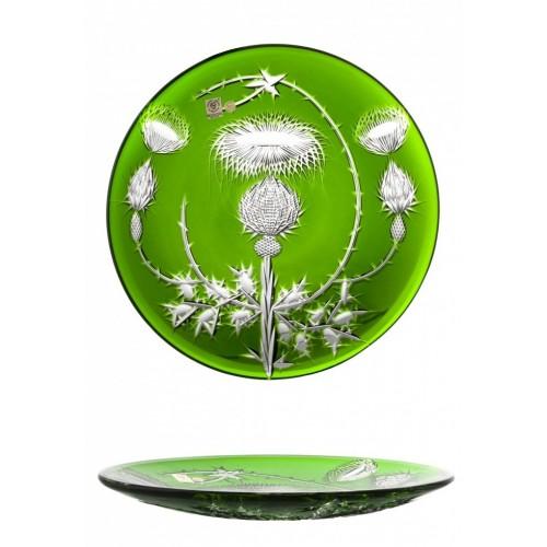 Thistle kristálytányér, zöld színű, átmérője 300 mm