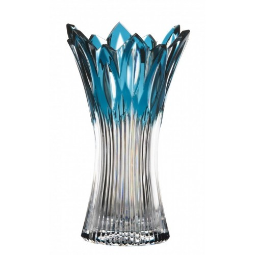 Flame kristályváza, azúr színű, magassága 255 mm