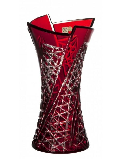 Fan kristályváza, rubinvörös színű, magassága 305 mm