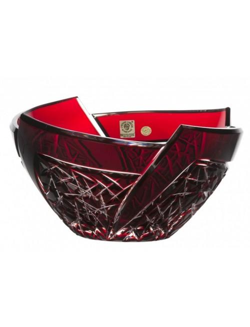 Fan kristálytál, rubinvörös színű, átmérője 225 mm