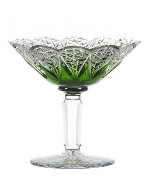 Flowerbud kristály dísztál, zöld színű, átmérője 155 mm