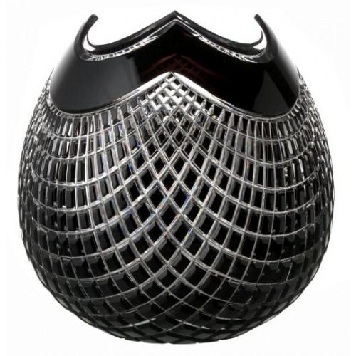 Quadrus kristályváza, fekete színű, magassága 250 mm