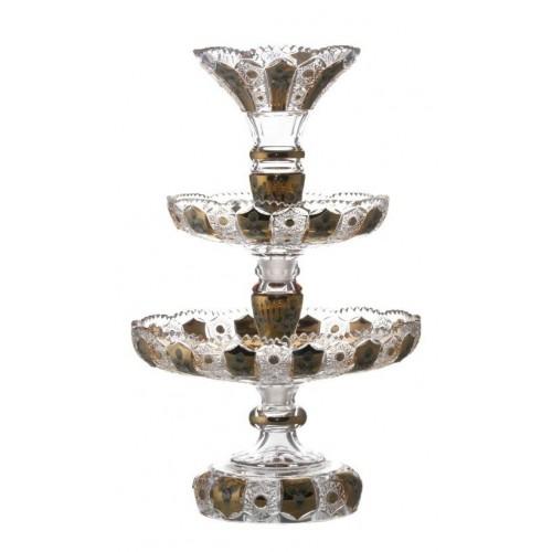 Zománcolt kristály kínáló állvány, áttetsző kristály színű, magassága 590 mm