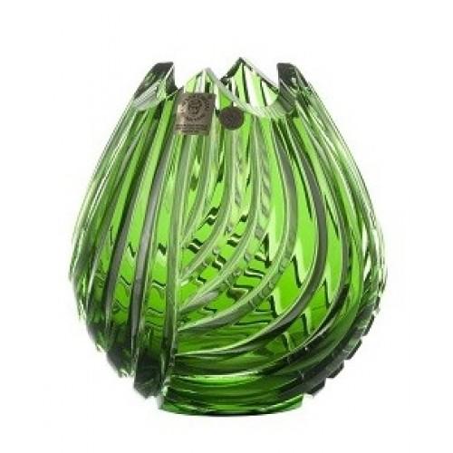 Linum kristályváza, zöld színű, magassága 135 mm