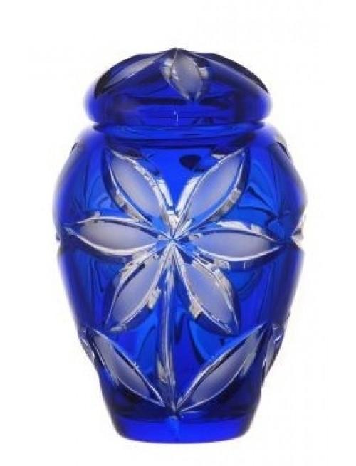 Linda kristályurna matt, kék színű, mérete 120 mm
