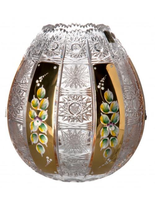 500K Arany kristályváza, áttetsző kristály színű, magassága 210 mm
