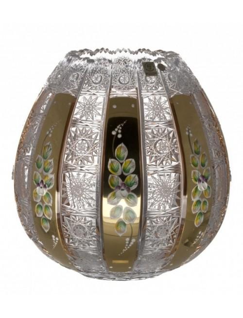 Zománcolt kristályváza, áttetsző kristály színű, magassága 250 mm