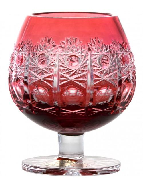 Brandy Petra kristálypohár, rubinvörös színű, űrmértéke 230 ml