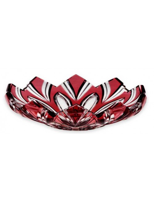 Lótusz kristálytányér, rubinvörös színű, átmérője 144 mm