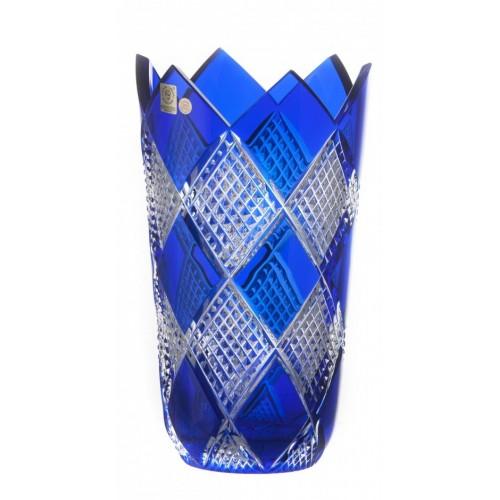 Colombine II kristályváza, kék színű, magassága 255 mm