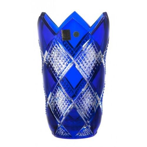 Colombine kristályváza, kék színű, magassága 205 mm
