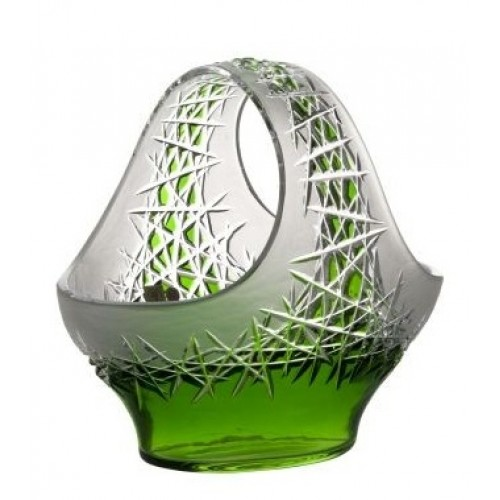 Hoarfrost kristálykosár, zöld színű, átmérője 255 mm