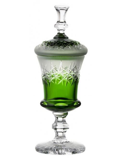 Hoarfrost kristálypohár, zöld színű, magassága 350 mm