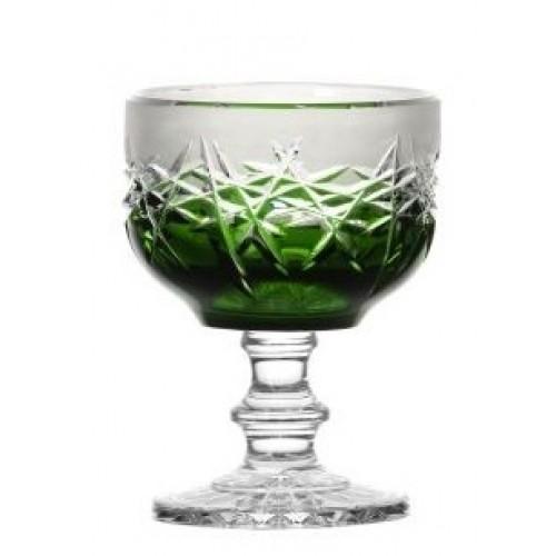 Hoarfrost kristály dísztál, zöld színű, átmérője 130 mm