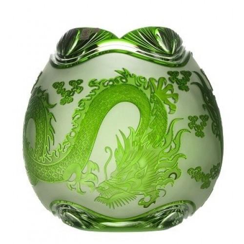 Sárkány kristályváza, zöld színű, magassága 280 mm