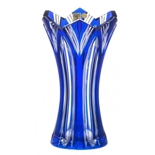 Lotos kristályváza, kék színű, magassága 230 mm