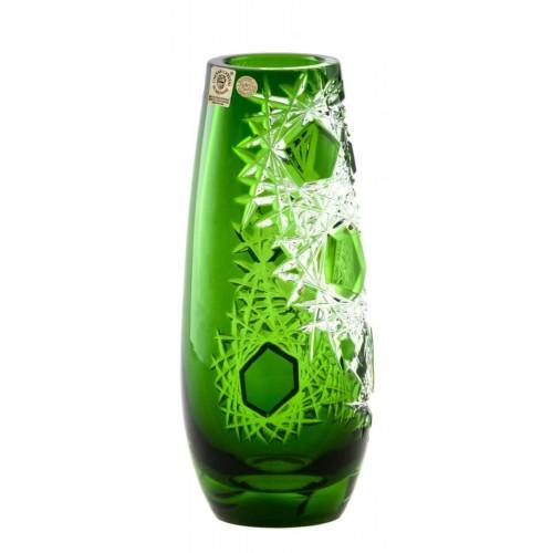 Frost kristályváza, zöld színű, magassága 205 mm
