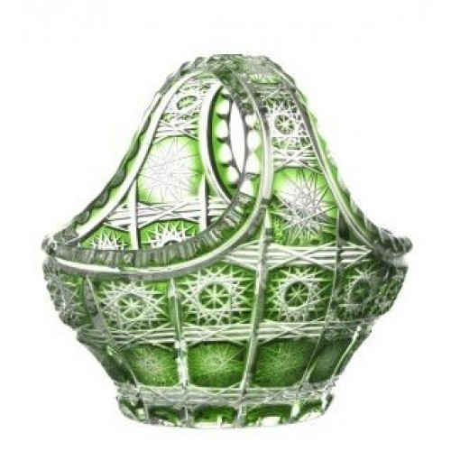 Paula kristálykosár, zöld színű, átmérője 150 mm