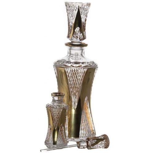 Arany Levél kristály cseppentős parfümös üveg, áttetsző kristály színű, űrmértéke 90 ml