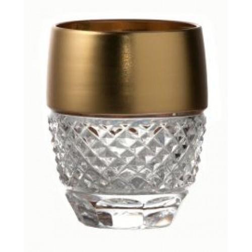 Arany kristálypohár, áttetsző kristály színű, űrmértéke 50 ml