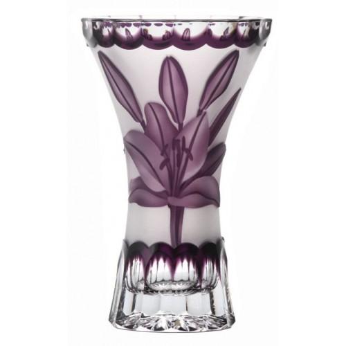 Lilom kristályváza, lila színű, magassága 155 mm