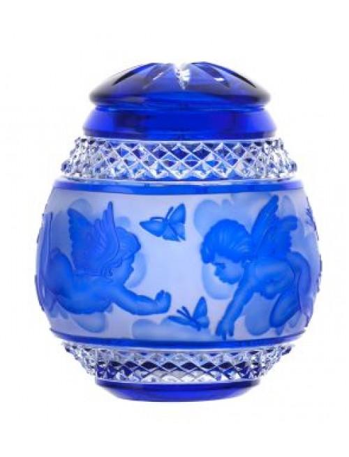 Angyal kristályurna, kék színű, magassága 290 mm