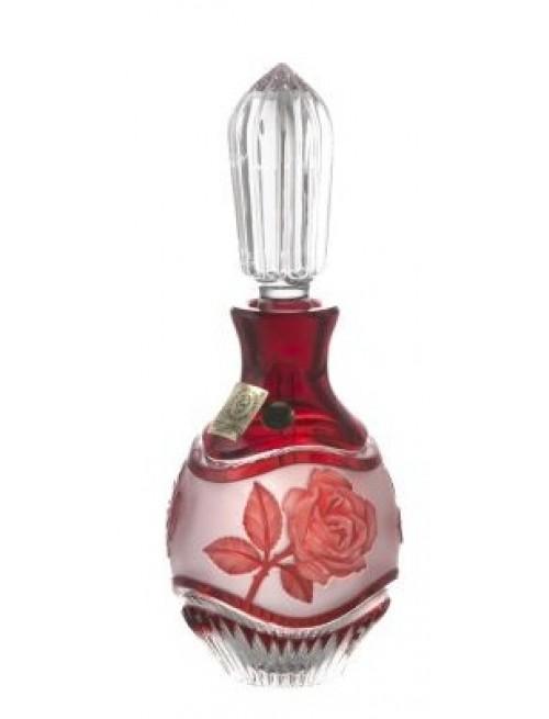 Rózsa kristály cseppentős parfümös üveg, rubinvörös színű, űrmértéke 130 ml