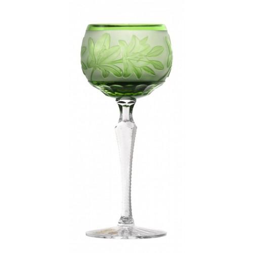 Liliom kristály borospohár, zöld színű, űrmértéke 190 ml