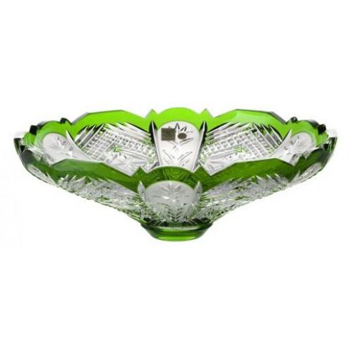 Dorote kristálytál, zöld színű, átmérője 320 mm