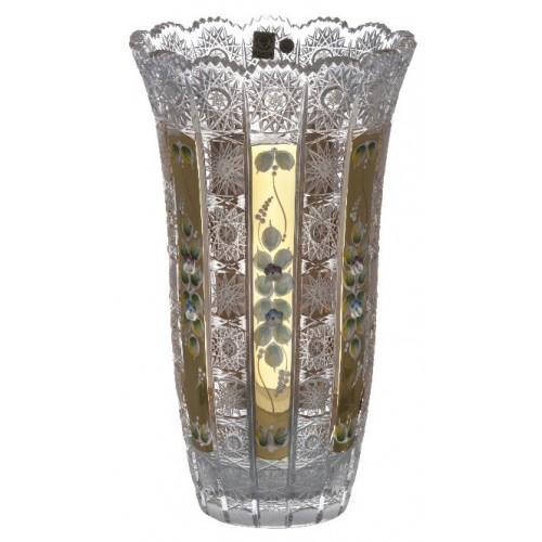 500K Arany kristályváza, áttetsző kristály színű, magassága 310 mm