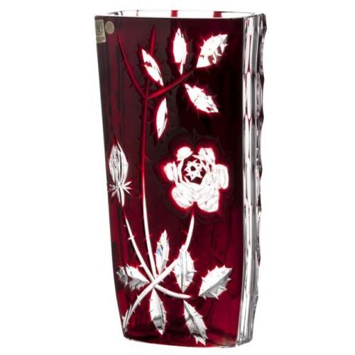 Rózsa kristályváza, Rubinvörös színű, magassága 255 mm