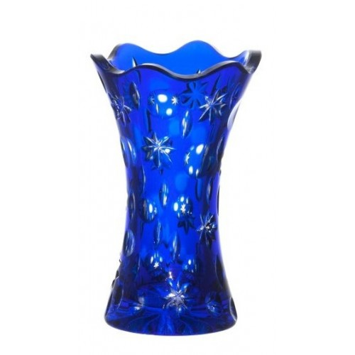 Lyra kristályváza, kék színű, magassága 155 mm