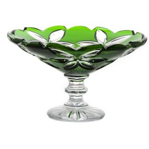 Linda kristály dísztál, zöld színű, átmérője 280 mm