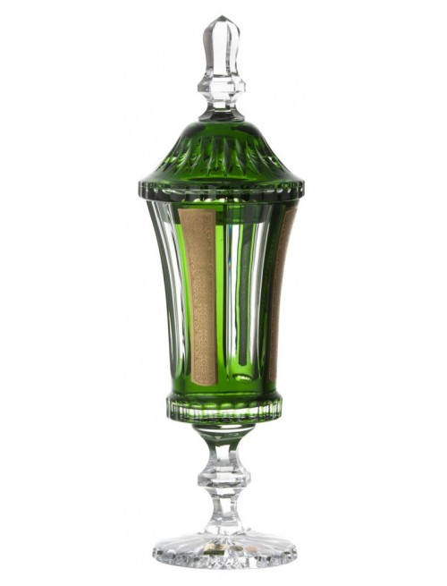 Romance kristálypohár, zöld színű, magassága 390 mm