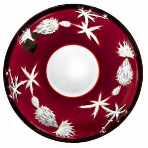 Thistle kristálytányér, rubinvörös színű, átmérője 181 mm