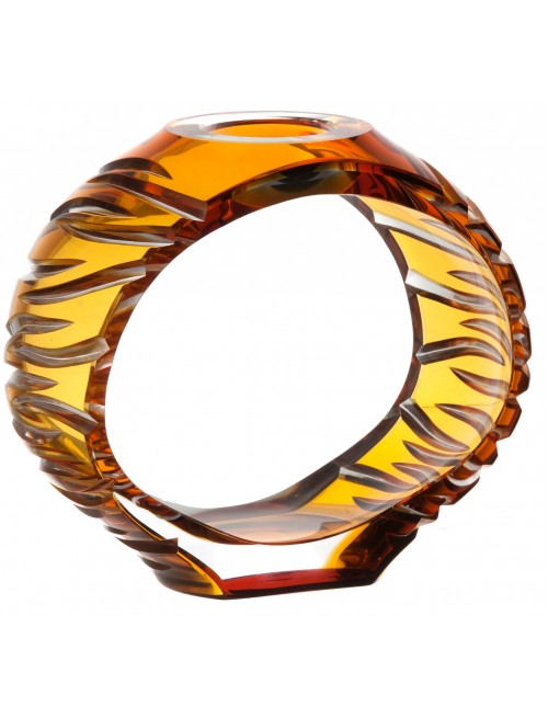 Ara kristály gyertyatartó, borostyán színű, magassága 165 mm