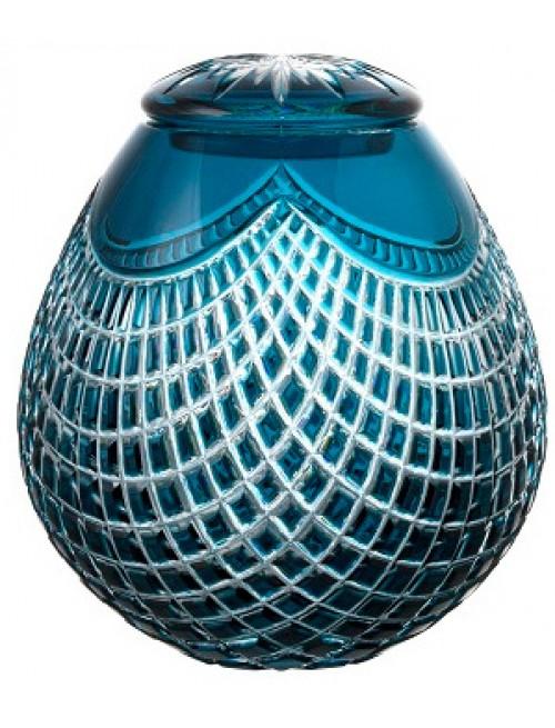 Quadrus kristályurna, azúr színű, magassága 230 mm