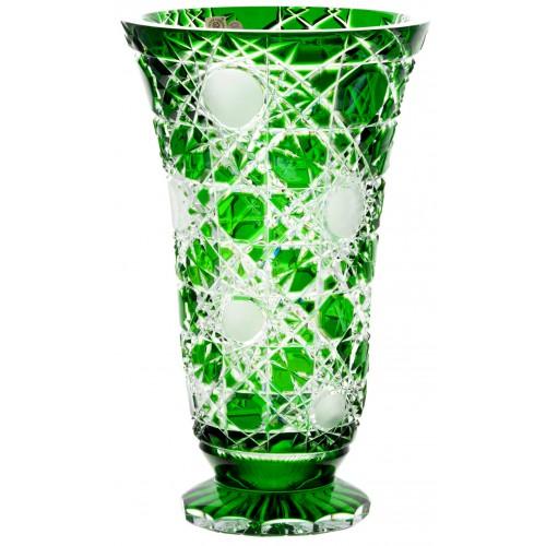 Flake kristályváza, zöld színű, magassága 305 mm