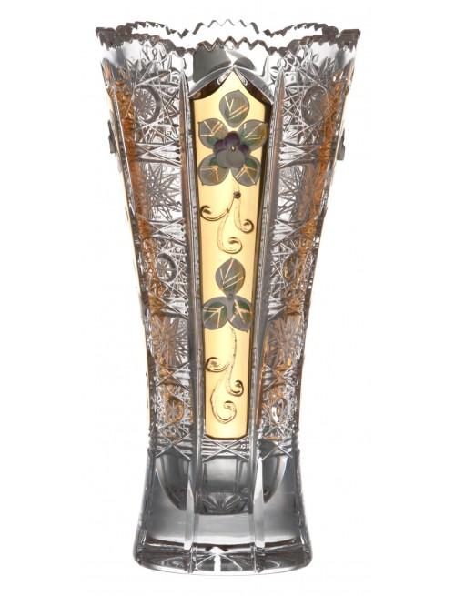 500K Arany kristályváza, áttetsző kristály színű, magassága 205 mm
